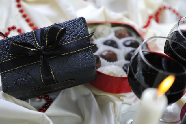 wine chocolate and praline decoration closeup