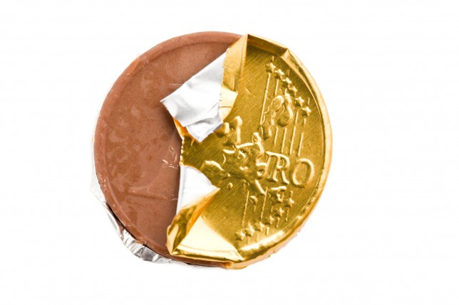 the euro currency . chocolate coin