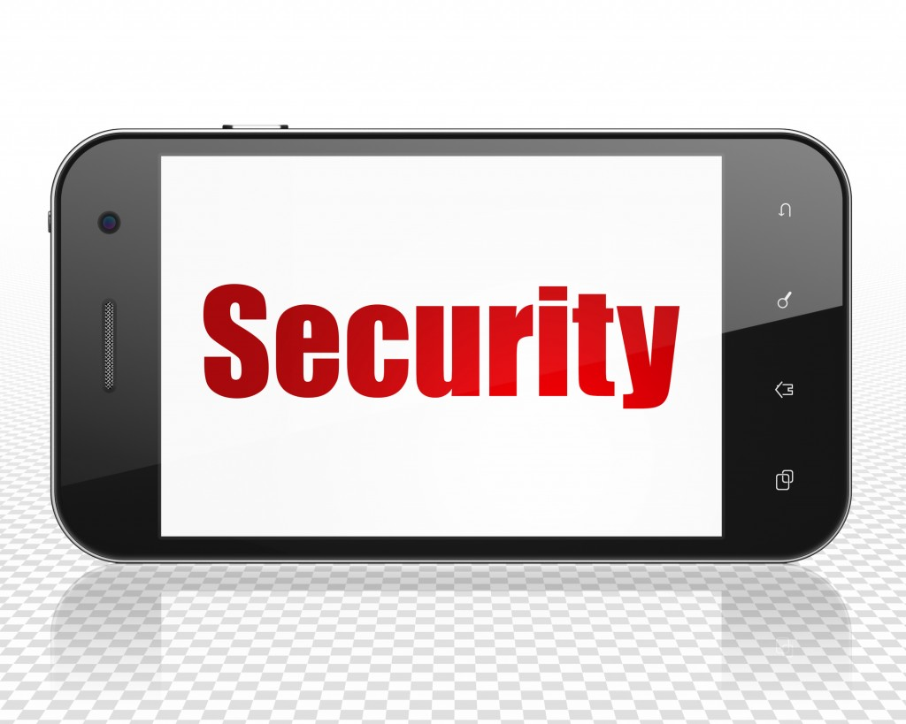 Protection concept: Smartphone with red text Security on display