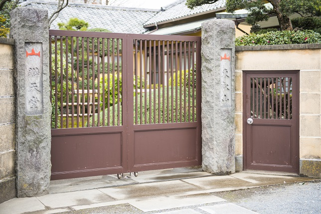 antique iron gates of Japanese house, door